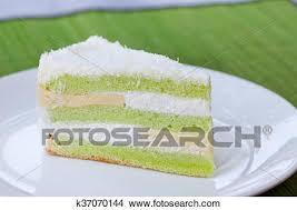 Pandan Layered Cake Traditional Indonesian Desert Stone Background