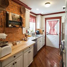Exposed Brick Kitchen Kitchen Admirable Urban Kitchen With Marble Island And Exposed
