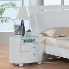 amazoncom  drawer nightstand w glass top in white finish