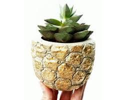 Pineapple Planter/Gold Pineapple/Pineapple Lover/Succulent Planter/Pineapple  Decor/Concrete