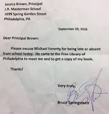 Bruce Springsteen Signs Absence Letter For Boy Who Missed School To ...