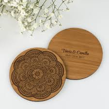 Wedding Coasters Limited Edition Mandala Inspired Wooden Wedding Coaster