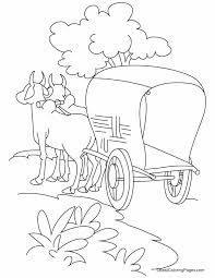 Small Picture Bullock cart standing on the road coloring pages Download Free