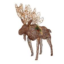 Outdoor Lighted Moose 4 Ft Grapevine Moose Figurine With 175 Twinkling Led Lights