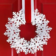 For an easy wreath in a flash, use premade snowflake ornaments (fiberglass  or resin ornaments look especially frosty) and a flat foam wreath.