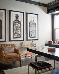 home office artwork. Home Office Art A Glass And Gold Bar Cart, Brown Leather Armchair  Oversized Artwork Home Office Artwork S