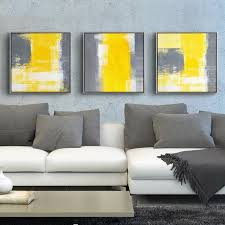 yellow and grey modern minimalist abstract painting decorative canvas paintings living room sofa backdrop wall art