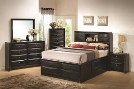 Bookcase Bedroom Furniture Coaster Briana King Contemporary Storage Bed With Bookshelf