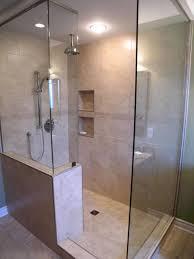 Walk in shower lighting Bathroom Merolatilewallwithrainshowerandceiling Sgaworld Bathroom Doorless Shower For Interesting Shower Room Design