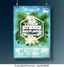 Party Flyer Custom Vector Summer Beach Party Flyer Design With Typographic Design On