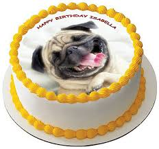 "7.5"" <b>Pug Dog</b> Personalised PREMIUM RICE PAPER Edible Cake ..."