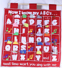 Abcs Learning Chart Cloth Wall Hanging Alphabet Pockets