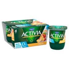 image 2 of activia 0 fat peach yogurt 4 x125g
