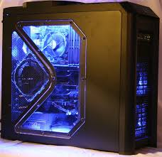 with a blue lighting kit blue cable management 2 x ati 4890 graphics cards