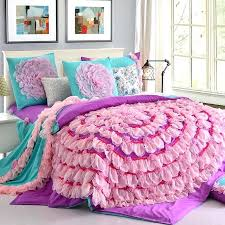 designer handmade lace flower art duvet cover teen girl princess bedding set pink purple cotton twin