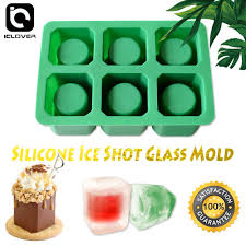 com ic iclover silicone ice shot glass mold 6 cups square green ice cube tray jelly tray chocolate mold food grade silicone ice shot silicone