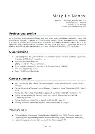 Nanny Resume Example Professional Nanny Resume Sample Table Full ...