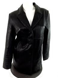valerie stevens womens black genuine new zealand lamb leather jacket size m