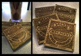 laser engraving on wood pieces