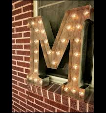 unique rustic lighting. lightup letter m sign rustic industrial marquee lighting w metal distressed wood unique