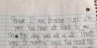 Little Girl S Brake Up Note Offers A Serious Dose Of Real Talk