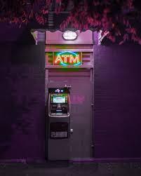 lighted ATM, neon, street, urban, city ...