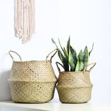 Natural <b>Sea Grass</b> Woven <b>Foldable</b> Belly <b>Basket</b> with Handle for ...