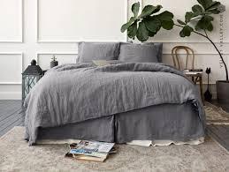 linen charcoal grey comforter cover