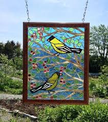 stained glass stain glass birds stained goldfinch bird mosaic panel on a wire
