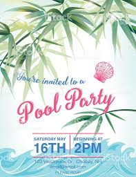 pool party invitation template palm trees stock vector art pool party invitation template palm trees royalty stock vector art