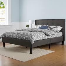 Full Upholstered Bed Frame Zinus Dark Grey Full Upholstered Bed Hd Fspb F The Home Depot
