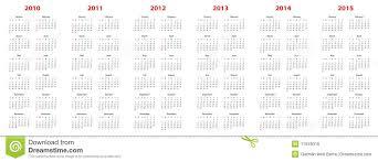 Calendar 2013 Through 2015 Calendar For 2010 Through 2015 Stock Vector Illustration