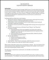 Property Manager Job Description Samples Assistant Manager Duties For Resume Wikirian Com
