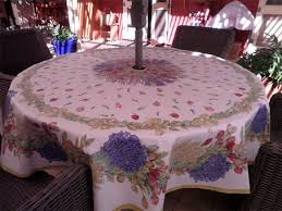large round patio tablecloth with umbrella hole and open end zipper