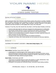 video game tester resumes