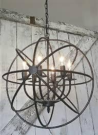 industrial chandelier lighting. INDUSTRIAL ROUND CHANDELIER LIGHT FIXTURE GLOBE METAL RUSTIC ARMILLARY SPHERE Industrial Chandelier Lighting I
