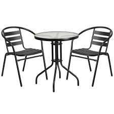 23 75 round glass metal table with 2 black metal aluminum slat stack chairs tlh