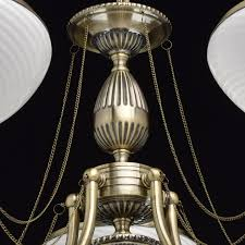 interior view classic 5 arm chandelier in antique brass with white glass shades save