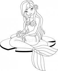 Mermaid Coloring Page Stock Vectors Royalty Free Mermaid Coloring