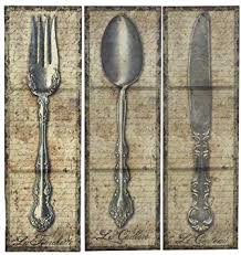 vintage kitchen silverware canvas wall art spoon knife fork 3 pc on kitchen fork knife spoon wall art french painting with amazon vintage kitchen silverware canvas wall art spoon knife