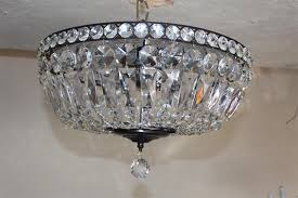 crystal basket flushmount copper chandelier vintage