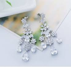 bridal chandelier earrings austrian crystal chandelier earrings cubic zirconia long drop bridal earrings