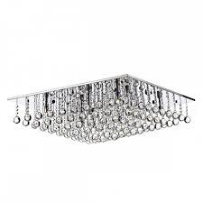 decorative square flush chrome crystal ceiling light