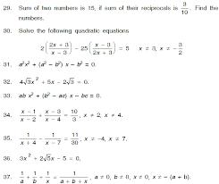 quadratic equations class x worksheet
