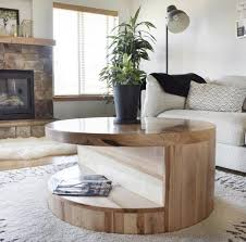 round coffee table with storage wood