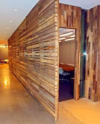office paneling. reclaimed hardwoods used as office wall paneling and doorways n