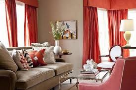 red curtains living room red