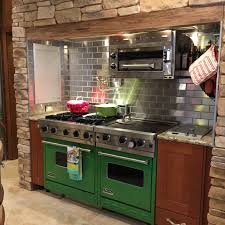 Stainless Steel Backsplash Kitchen A Gorgeous Customer Kitchen Design With Green Stoves Stainless