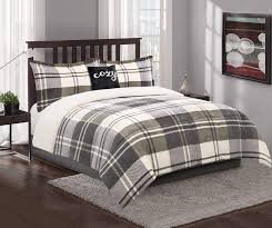 living colors gray plaid sherpa queen