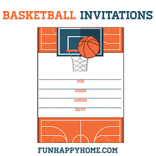 printable basketball themed party invitations fun happy home if you re throwing a party for kids this is a great opportunity for kids to practice their handwriting and fill out the invitations on their own